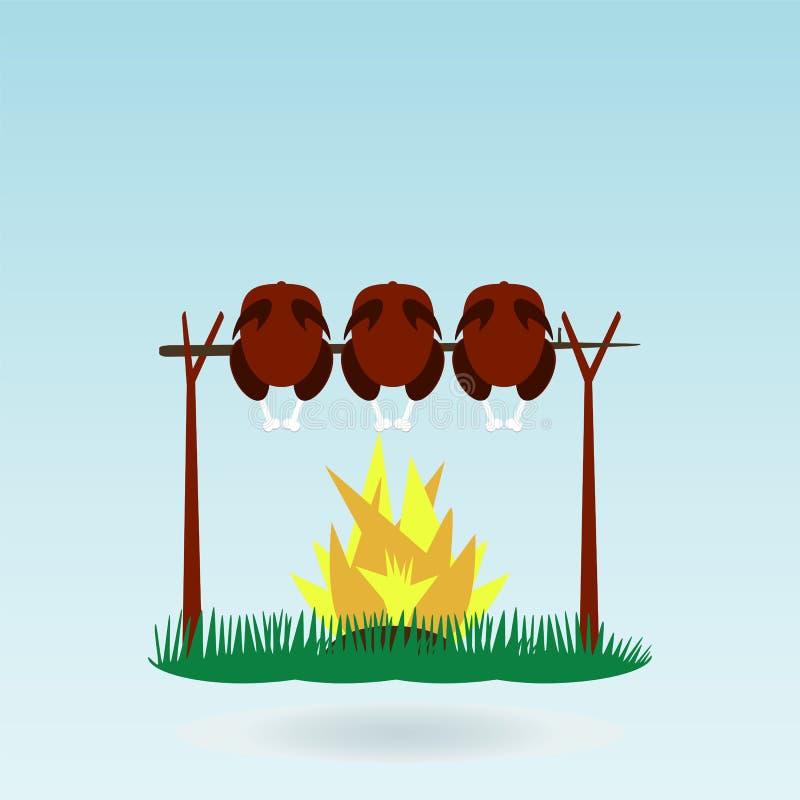 De grill Geroosterde haan van Kippenturkije vector illustratie
