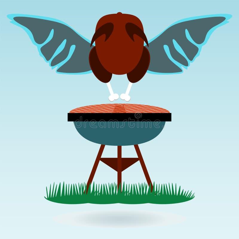 De grill Geroosterde haan van Kippenturkije, vleugels stock illustratie