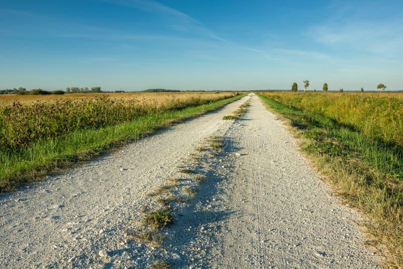 De grintweg aan de horizon stock afbeelding