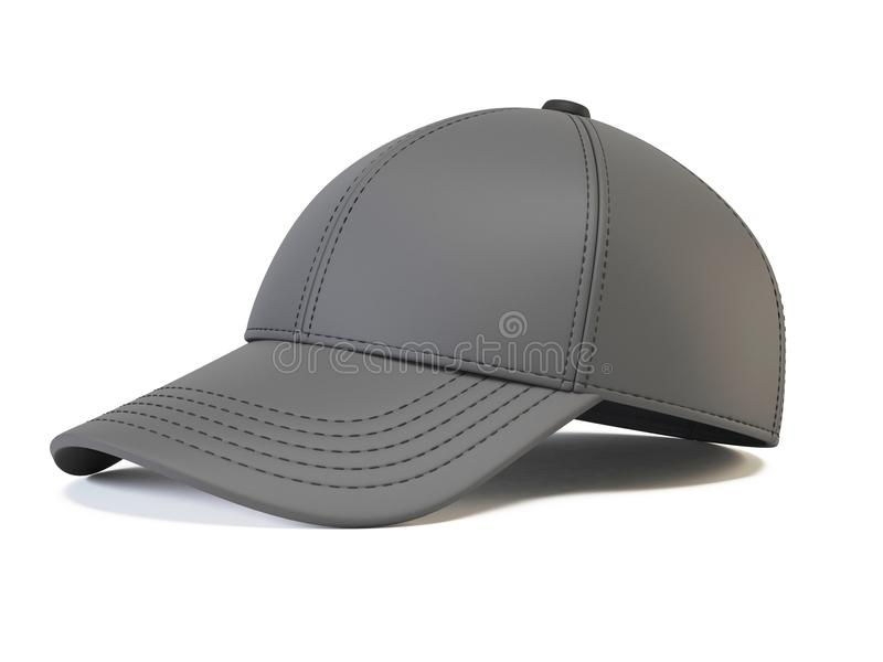 De gris de rupture moquerie de retour, calibre vide de chapeau, diverses vues, d'isolement sur le rendu blanc du fond 3d illustration stock