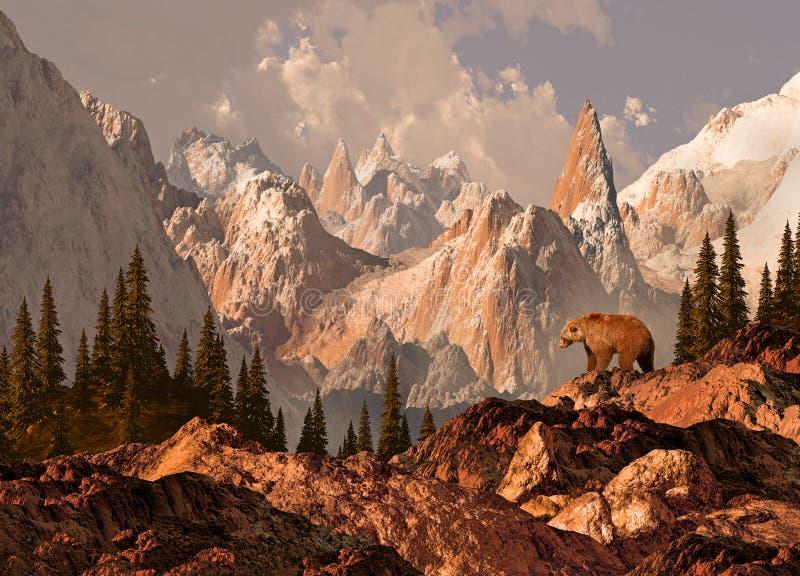 De Grizzly van de berg stock illustratie