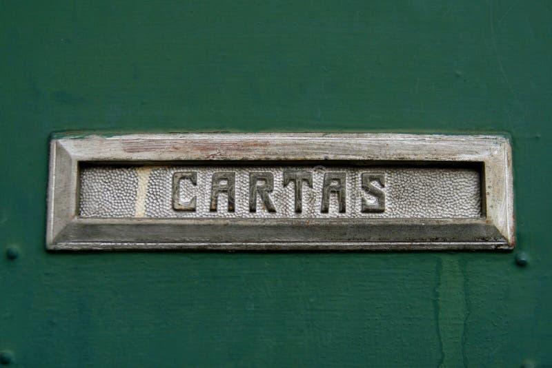 De groef van de brievenbus voor brieven, in het Spaans stock fotografie