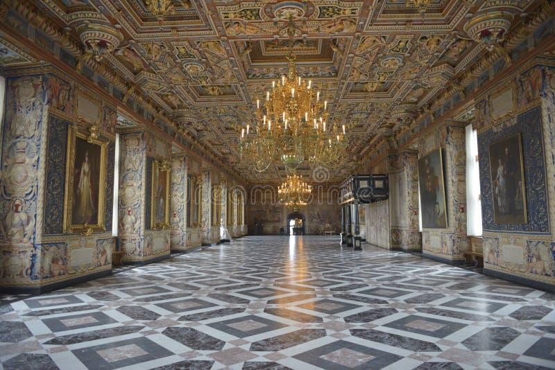 De Groef van Frederiksborg (Kasteel) de Grote Zaal (Riddersalen) royalty-vrije stock foto