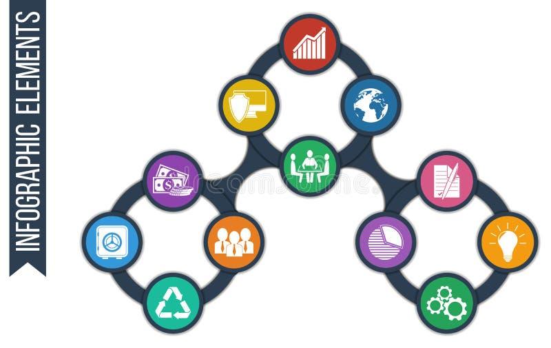 De groei abstracte achtergrond met verbonden cirkels en geïntegreerde pictogrammen stock illustratie