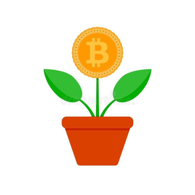 De groei beet muntstuk Crypto ingemaakte installatievector royalty-vrije illustratie