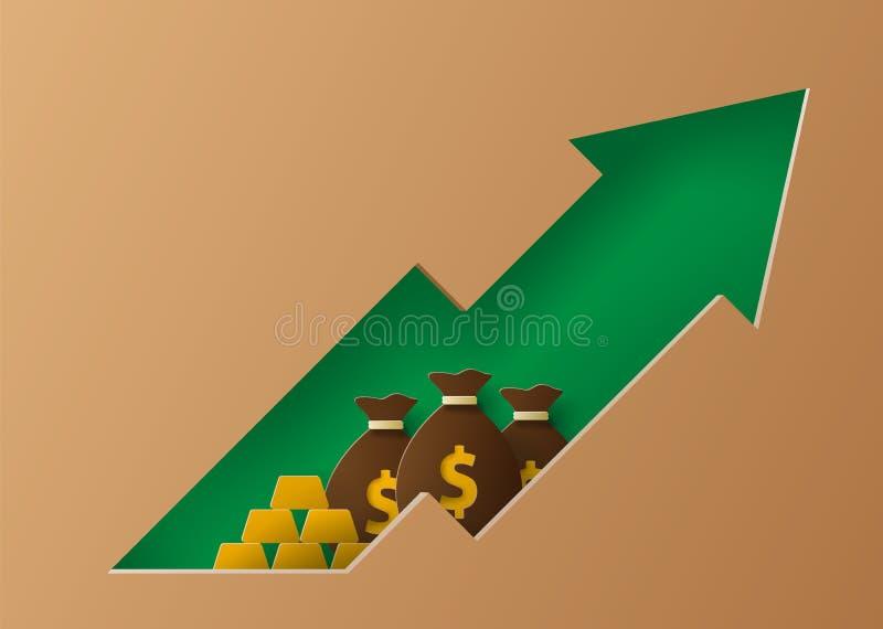 De groei in financiële indicatoren Illustratie in document de stijl van de besnoeiingskunst stock illustratie