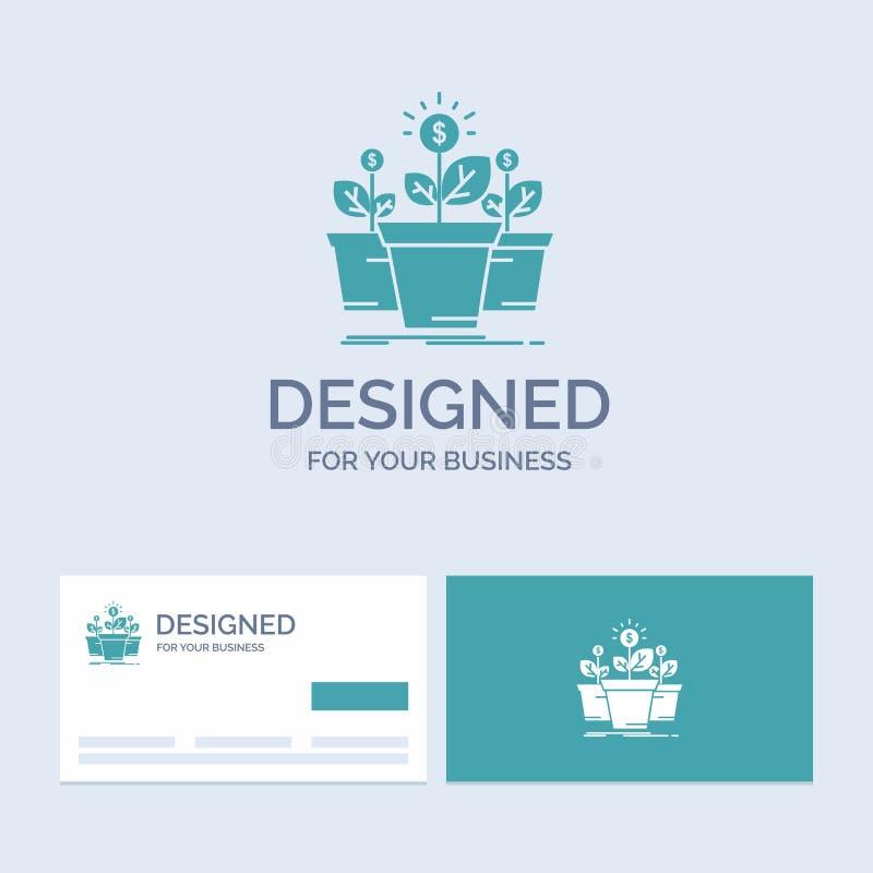 de groei, geld, installatie, pot, boomzaken Logo Glyph Icon Symbol voor uw zaken Turkooise Visitekaartjes met Merkembleem vector illustratie