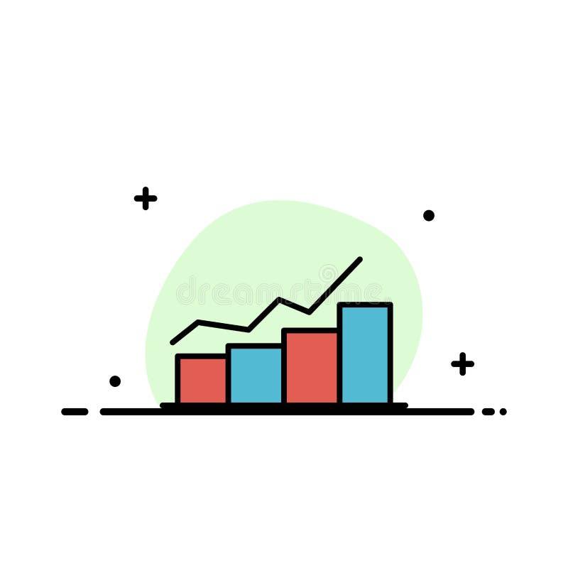 De groei, Grafiek, Stroomschema, Grafiek, Verhoging, Malplaatje Vooruitgangs van de Bedrijfs het Vlakke Lijn Gevulde Pictogram Ve royalty-vrije illustratie