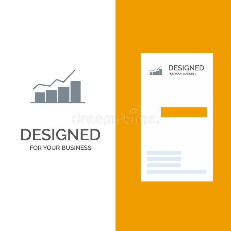 De groei, Grafiek, Stroomschema, Grafiek, Verhoging, Vooruitgang Grey Logo Design en Visitekaartjemalplaatje royalty-vrije illustratie