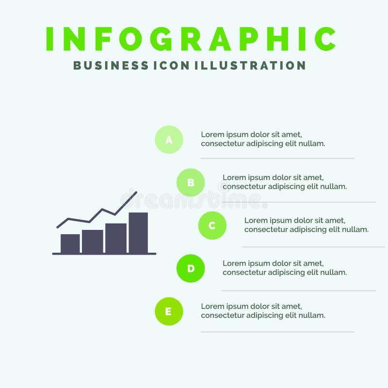 De groei, Grafiek, Stroomschema, Grafiek, Verhoging, Vooruitgangs Stevig Pictogram Infographics 5 de Achtergrond van de Stappenpr stock illustratie