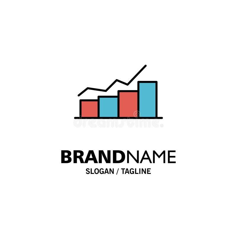 De groei, Grafiek, Stroomschema, Grafiek, Verhoging, Vooruitgangszaken Logo Template vlakke kleur vector illustratie