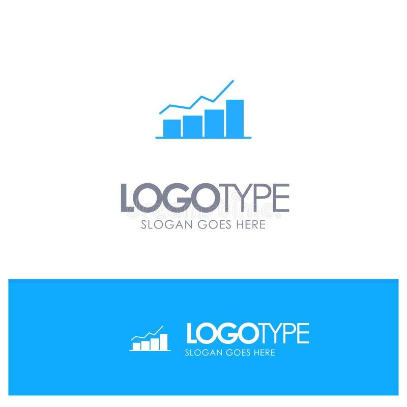 De groei, Grafiek, Stroomschema, Grafiek, Verhoging, vordert Blauw Stevig Embleem met plaats voor tagline vector illustratie