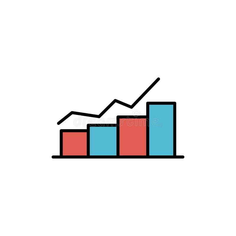 De groei, Grafiek, Stroomschema, Grafiek, Verhoging, vordert Vlak Kleurenpictogram Het vectormalplaatje van de pictogrambanner royalty-vrije illustratie