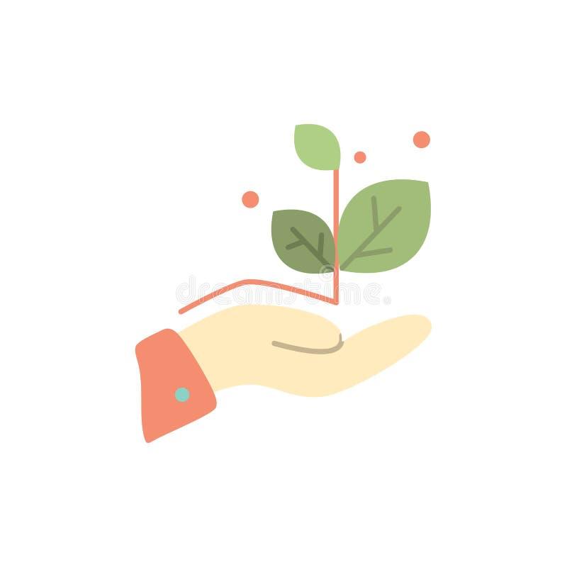 De groei, groeit, overhandigt, Pictogram van de Succes het Vlakke Kleur Het vectormalplaatje van de pictogrambanner vector illustratie