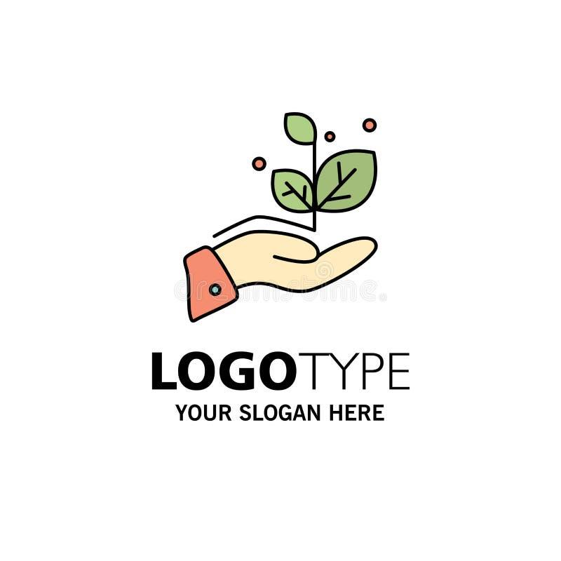 De groei, groeit, overhandigt, Succeszaken Logo Template vlakke kleur royalty-vrije illustratie