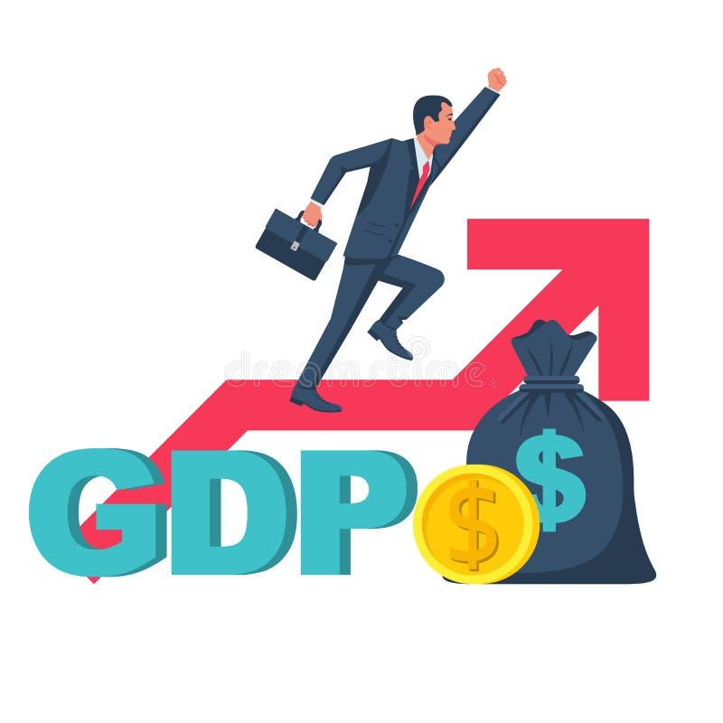 De groei het BBP Overheidsbegroting, openbare uitgaven vector illustratie