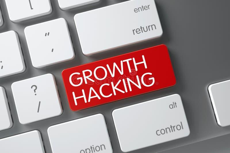 De groei het Binnendringen in een beveiligd computersysteem Close-up van Toetsenbord 3d geef terug stock illustratie