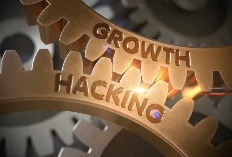 De groei het Binnendringen in een beveiligd computersysteem op Gouden Metaaltoestellen 3D Illustratie stock illustratie