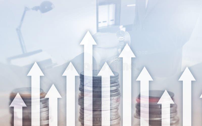 De groei op pijlen op futuristische abstracte achtergrond Het investeren of besparingen aan de groei op geld of zaken stock illustratie