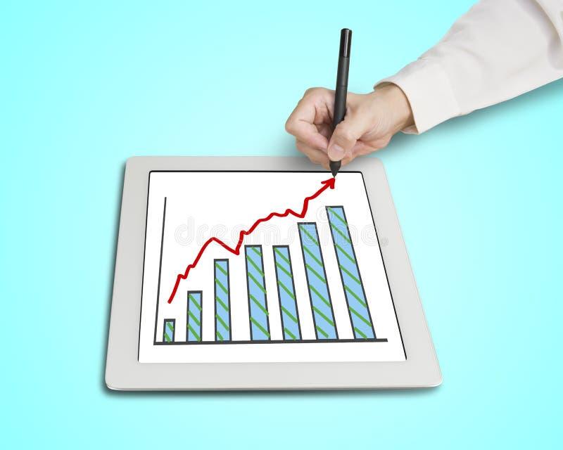 De groei rode pijl en grafiek van de handtekening op lijst vector illustratie