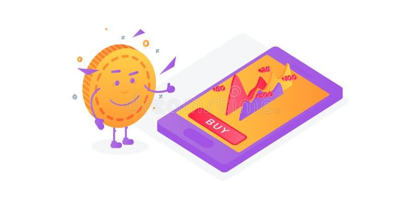 De groei van aandelen Het muntstuk toont houdt van vector illustratie