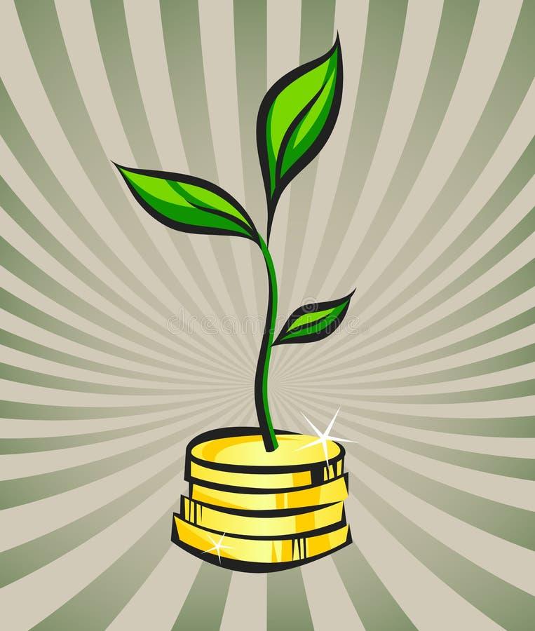 De groei van de geldboom, handelsinvesteringenconcept, vectorillustratie royalty-vrije illustratie