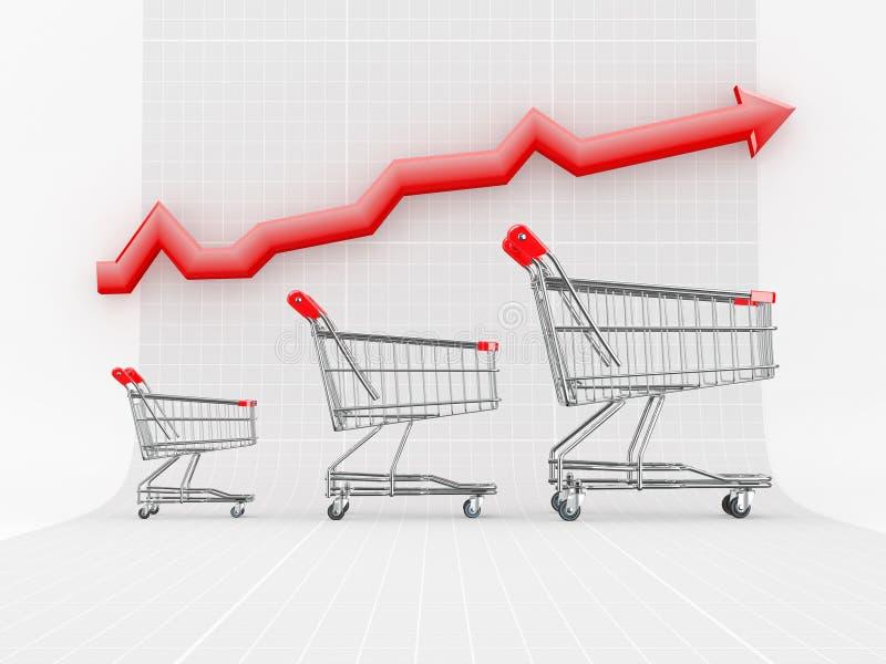 De groei van de verkoop. Het winkelen mand en grafiek royalty-vrije illustratie