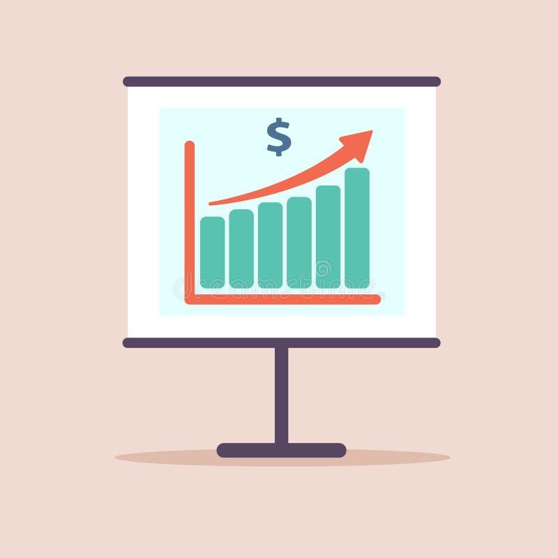 De groei van het de grafiekinkomen van de financiënproductiviteit, statistiekdashboard, vector vlak pictogram Vlak Ontwerp Illust stock illustratie