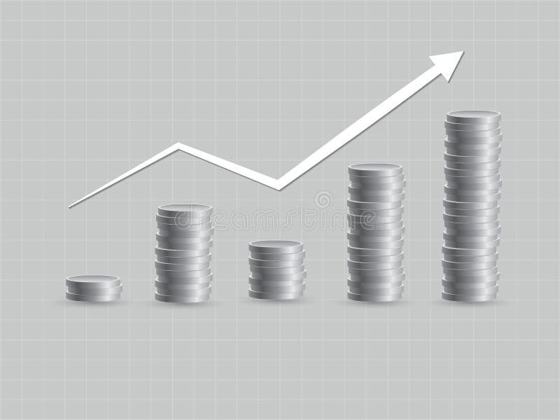De groei van investering met lichte schommelingen die zilveren muntstukken gebruiken om rijkdom vectorillustratie te vergaren stock illustratie