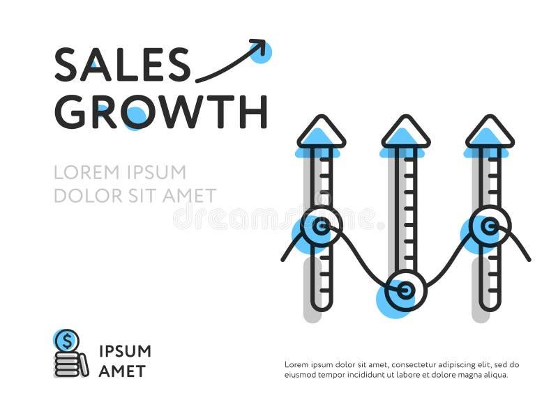 De groei van verkoop in kleurrijk malplaatje vector illustratie