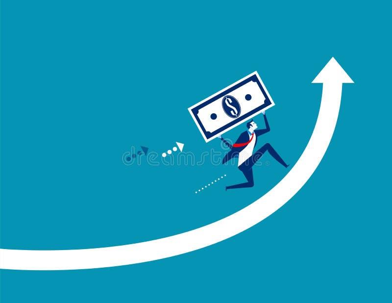 De groei van de zakenmaneconomie Concepten bedrijfs vectorillustratie stock illustratie