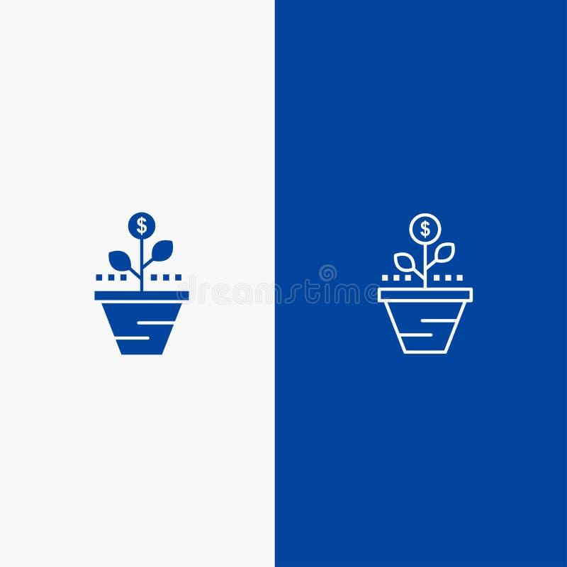 De groei, Zaken, Zorg, Financiën, groeit, het Groeien, Geld, heft Lijn en Lijn van de het pictogram Blauwe banner van Glyph de St royalty-vrije illustratie