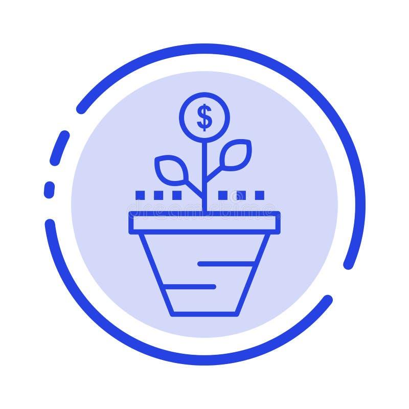 De groei, Zaken, Zorg, Financiën, groeit, het Groeien, Geld, opheft het Blauwe Pictogram van de Gestippelde Lijnlijn stock illustratie