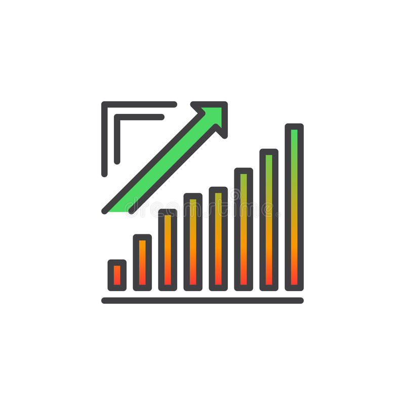 De groeiende grafiek, Pijlgrafiek het uitgaan lijnpictogram, vulde overzichts vectorteken, lineair kleurrijk die pictogram op wit royalty-vrije illustratie