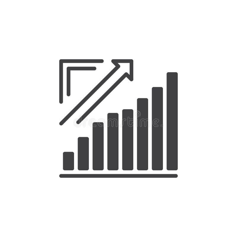 De groeiende grafiek, uitgaande het pictogramvector van de Pijlgrafiek, vulde vlak teken, stevig pictogram op wit royalty-vrije illustratie