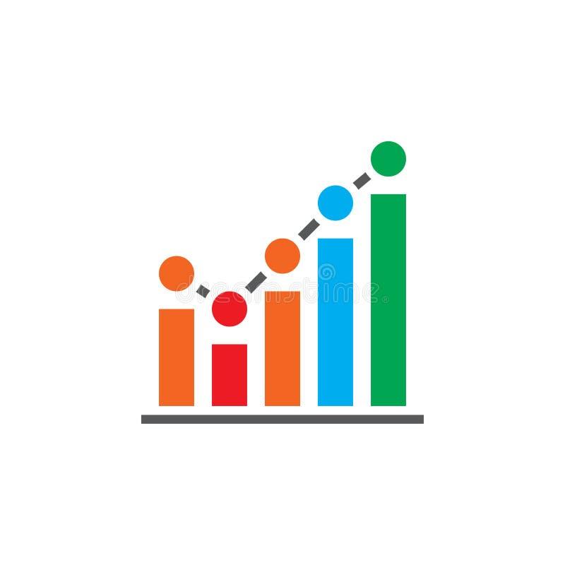 De groeiende vector van het grafiekpictogram, bedrijfsgrafiek stevig embleem, pictogram vector illustratie