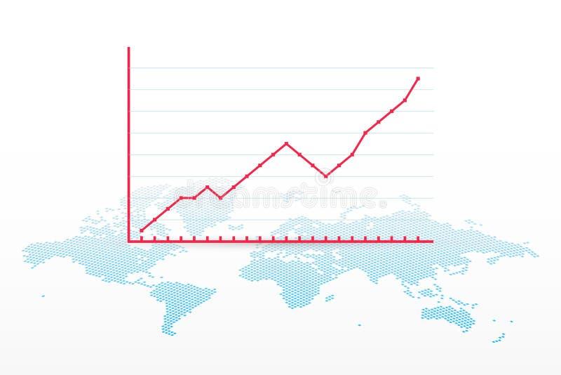 De groeigrafiek met het symbool van de wereldkaart Vector infographic element Vooruitgangsteken voor zaken, financiën, effectenbe stock illustratie