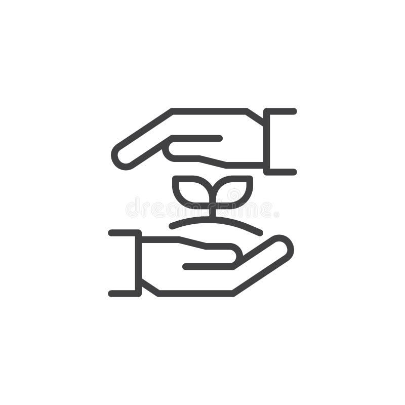 De groeiinstallatie in het pictogram van het handenoverzicht stock illustratie