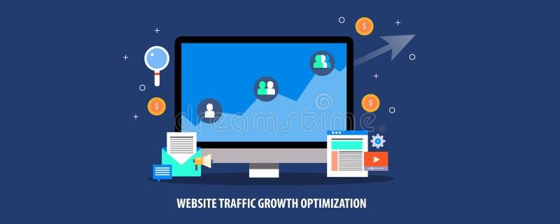 De groeioptimalisering van het websiteverkeer, gegevens die stijgend verkeer, digitaal marketing concept tonen Vlakke ontwerp vec stock illustratie