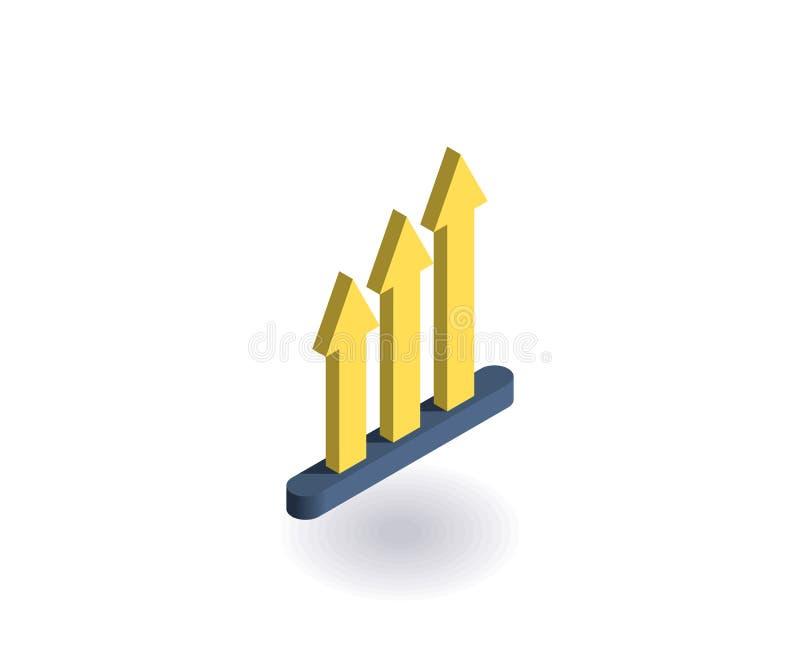 De groeipictogram Vectorillustratie in vlakke isometrische 3D stijl royalty-vrije illustratie