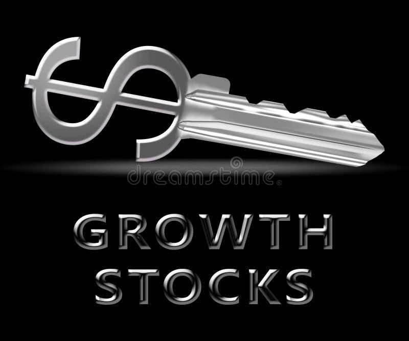 De de groeivoorraden betekent Toenemende Aandelen 3d Illustratie stock illustratie