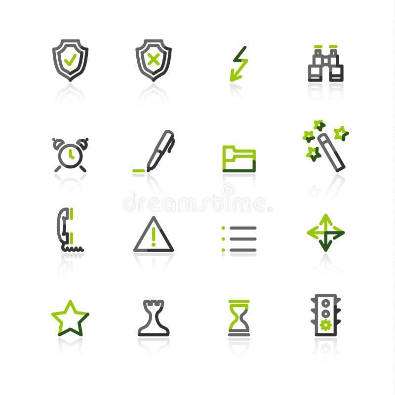 De groen-grijze pictogrammen van contouradmin royalty-vrije illustratie
