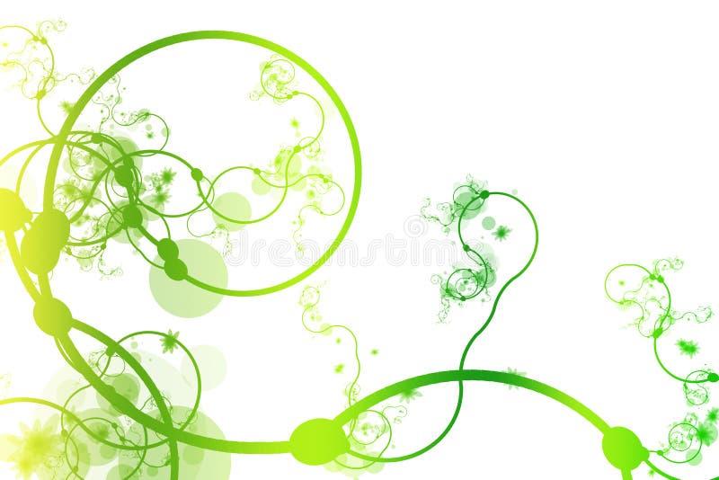 De groene Abstracte Buigende Wijnstokken van de Lijn stock illustratie