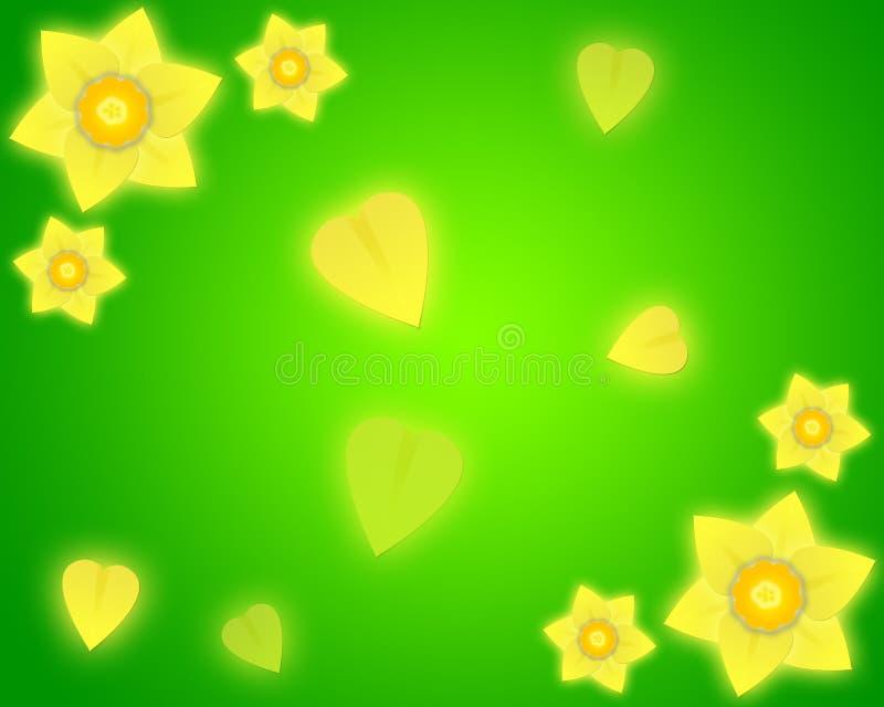 De groene achtergrond van de gele narcis
