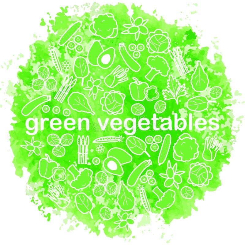 De groene achtergrond van de groentenwaterverf stock illustratie