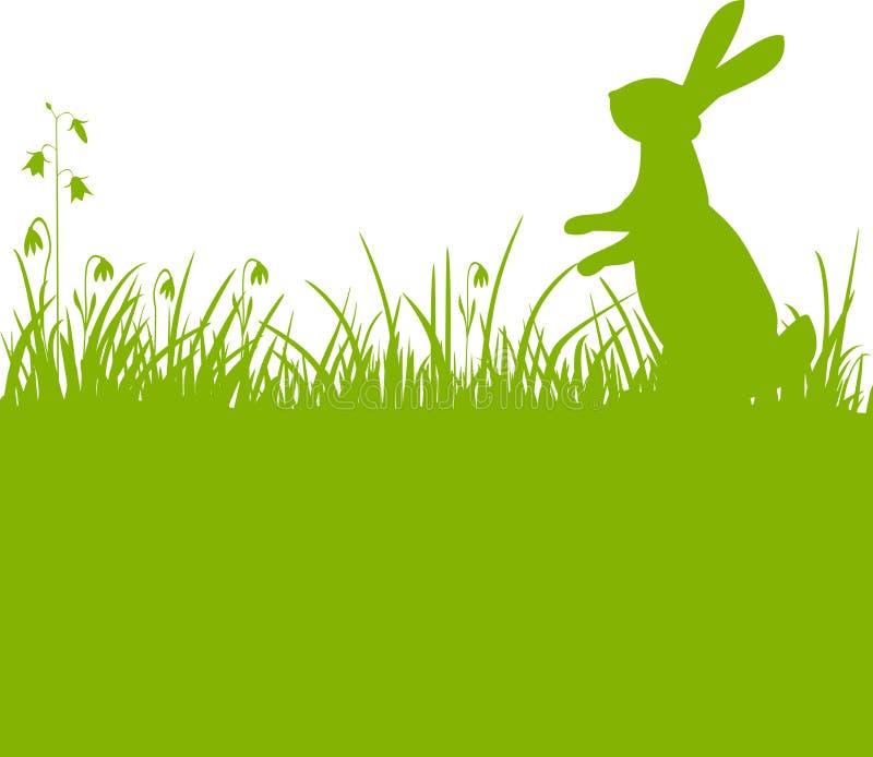 De groene achtergrond van de paashaas stock illustratie