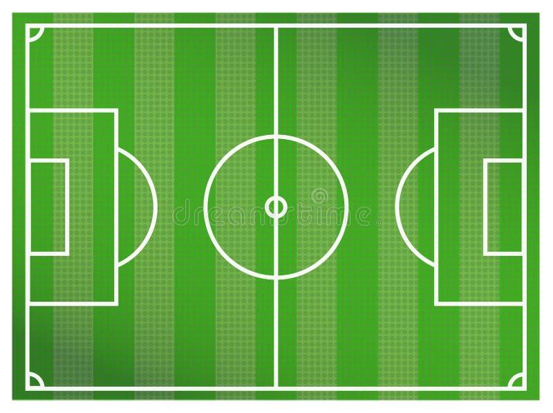 De groene achtergrond van het voetbalgebied Een realistisch geweven grasvoetbal of een voetbal vector illustratie