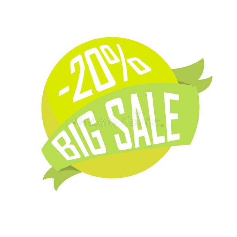 De groene bal in lint, Grote verkoop voor twintig percenten, voorziet goedkoop royalty-vrije illustratie