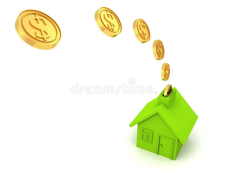 De groene bank van het huisgeld met de gouden stroom van dollarmuntstukken royalty-vrije stock afbeelding