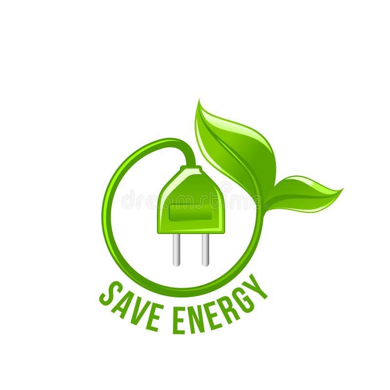 De groene blad elektrische stop bewaart energie vectorpictogram vector illustratie
